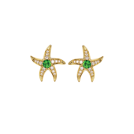 Beach Rocks Starfish Studs with Tsavorite in Yellow Gold