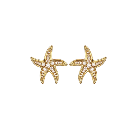 Beach Rocks Starfish Studs with Pave Diamonds in Yellow Gold