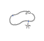 Beach Rocks Starfish Charm Bracelet in White Gold