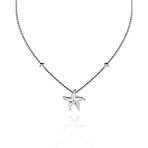 Beach Rocks Starfish pendant with Single diamond in White Gold