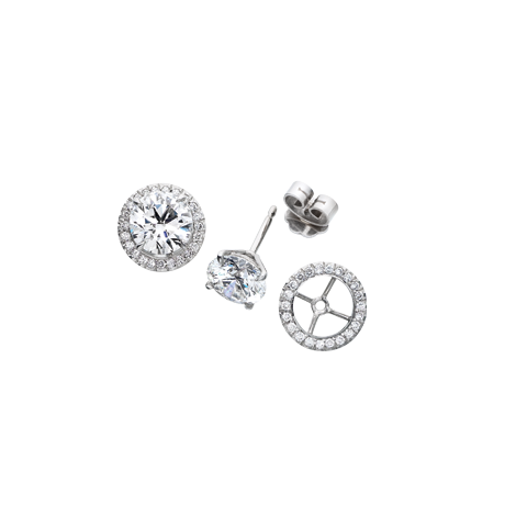 Diamond Studs with Detachable Diamond Surround  Jackets