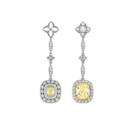 Fancy yellow cushion shape diamond drop earrings