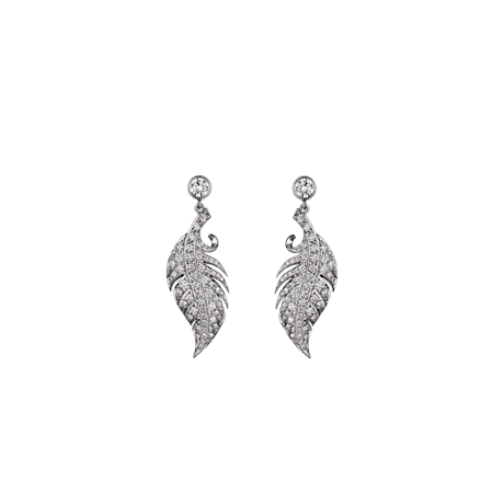 Feather Earrings with Diamond Studs in White Gold