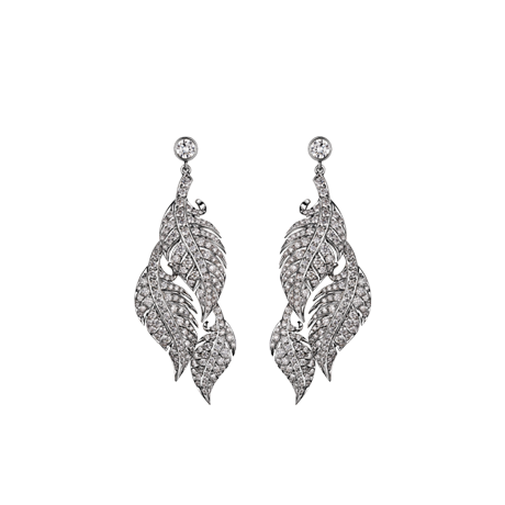 Feather Earrings - Three Tier in White Gold