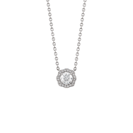 Floral surround diamond pendant in white gold