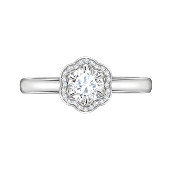 Floral Surround Round Brilliant Diamond Ring