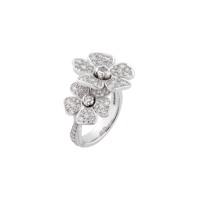 Forget me not double flower ring in white gold and diamonds