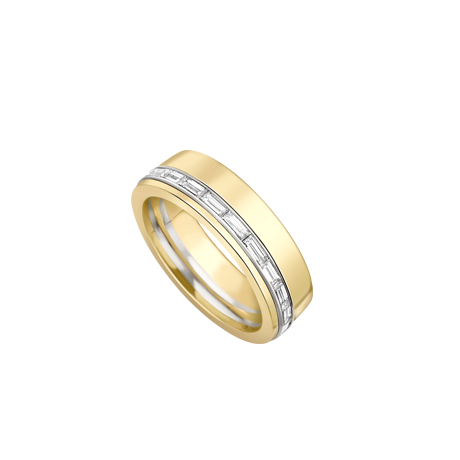 Gents yellow gold wedding band set with baguette diamonds