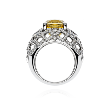 Lattice Petal Bombé Ring With Yellow Sapphire