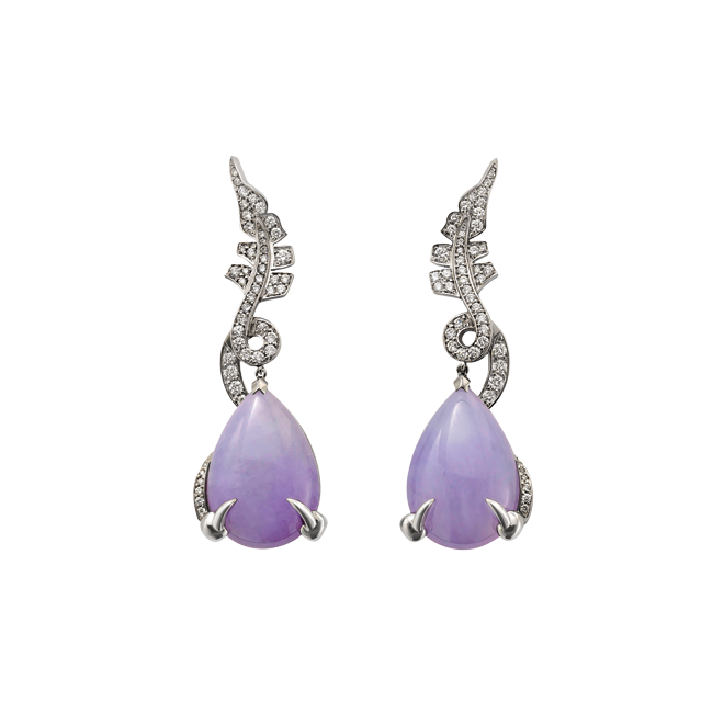 Lavender Jade Dragon Earrings
