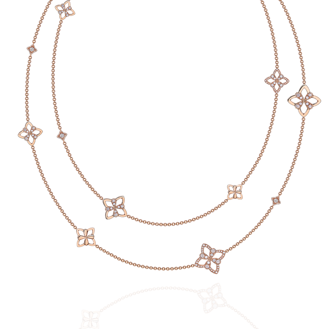 Legacy Long Charm Necklace in Red Gold