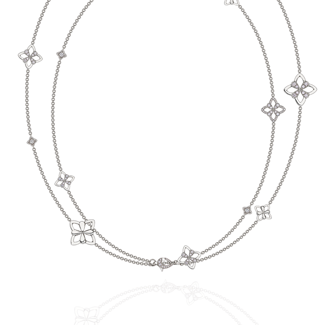 Legacy Long Charm Necklace in White Gold