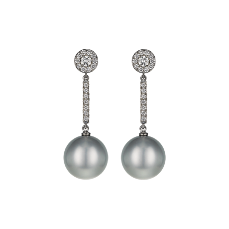 Platinum and Pearl Drop Earrings