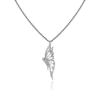 Butterfly Pendant in White Gold - Small
