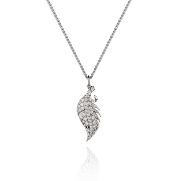 Feather Pendant in White Gold - Small