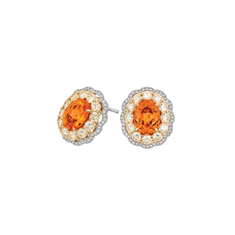 Spessartite, yellow and white diamond earrings