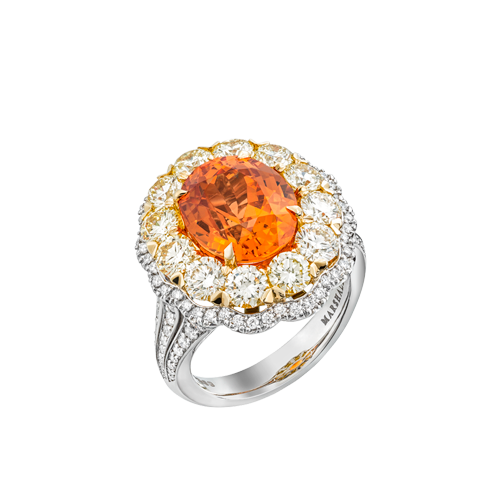 Spessartite Garnet ring with yellow and white Diamonds