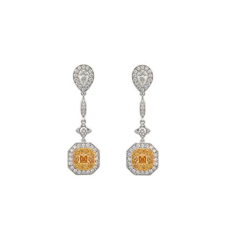 sunset fancy yellow and white diamond drop earrings