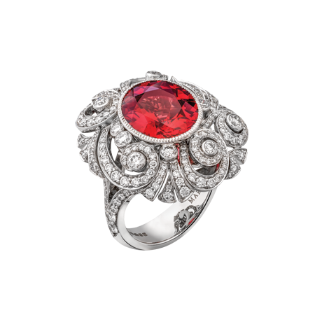 Red spinel swirl ring