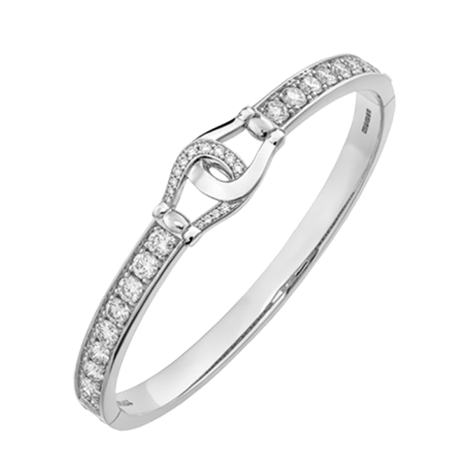 Unbridled cuff in white gold with white diamonds