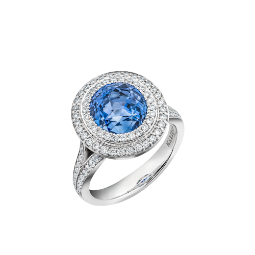 Vintage Sapphire and Diamond double halo ring