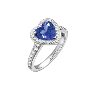 Vintage heart shaped sapphire and diamond ring