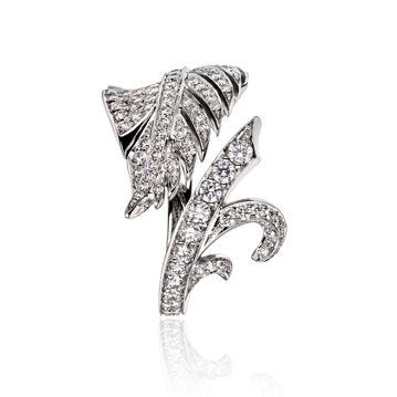 Feather Ring in White Gold