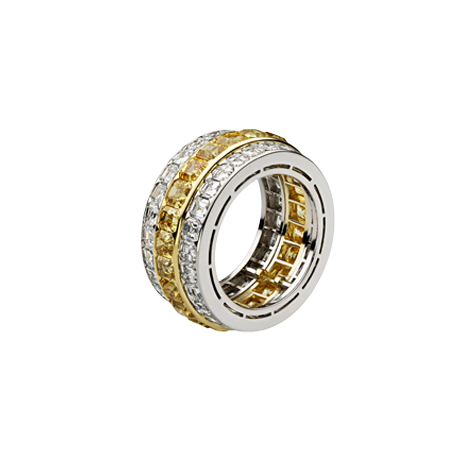 Asscher Cut White And Intense Yellow Diamond Eternity Ring
